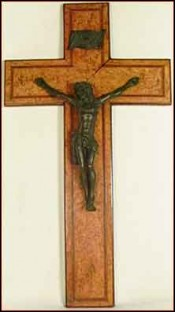 Solid Metal Christ on Wooden Crucifix 19th C