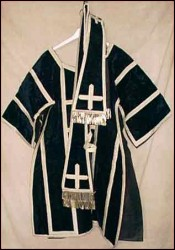 Set of Dalmatic Chasuble Night Blue Silk Velvet and Silver Braid