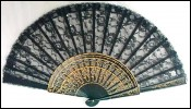 French Hand Fan Tulle Lace Golden Wood 1870