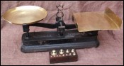 French Brass Cast Iron Bakery Scales & Weights 1900
