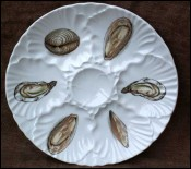Vintage French Porcelain Oyster Plate Shellfish 1970