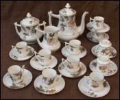Floral Gilt French Porcelain Limoges Coffee Set