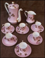 Floral Gilt French Porcelain Paris Coffee Set 1860