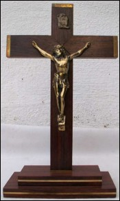 Altar Crucifix Rosewood Golden Spelter Bronze Ste Anne Auray 1940