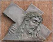 Head of Christ with Cross Solid Bronze 1900