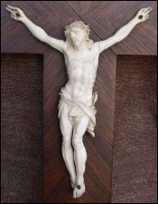 French Ivory Corpus Christ Rosewood Crucifix 1870