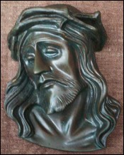 French Solid Bronze Head of Christ 1940