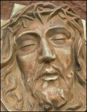 Large French Solid Bronze Head of Christ Thomas