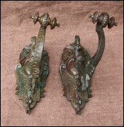 Pair of French Gothic Bronze Curtain Tideback Holdback 1850
