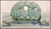 French Majolica Sailling Boat Clock Sarreguemines