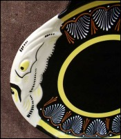 French Majolica Embroidery Fish Plate HB Quimper 1950