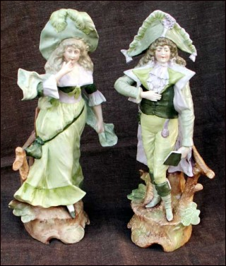 Huge Pair German Porcelain Figures 19th Century