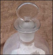 Apothecary Bottle Blowers Glass Ground Stopper 19 th century