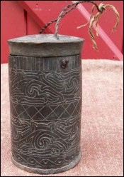 Lime container black horn Batak Sumatra Indonesia