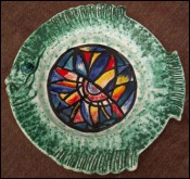 Fish Plate Artist Quiberon Stained Glass Quimper 1994