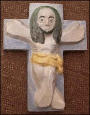 French Majolica Christ Crucifix Marcel Calvez near Quimper 1980
