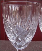 French Chantilly Saint Louis Cut Clear Crystal 4 Claret Wine Glass