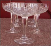 French Chantilly Saint Louis Cut Clear Crystal 7 Champagne Tall Sherbet Glass