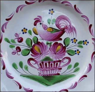Plate Rooster Flowered Basket St Clement