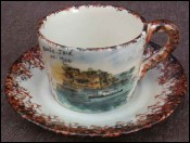 French Majolica Breakfact Cup Saucer Belle Isle no Quimper 1970