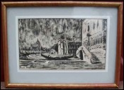 Drawing The Grand Canal Santa Maria della Salute Paul Bret 1954
