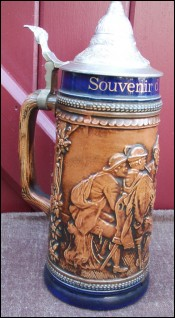 Large 11 inches 1/2 German Souvenir Beer Stein Gerz 1950