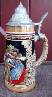 Pewter Lidded Beer Stein King Germany 1940