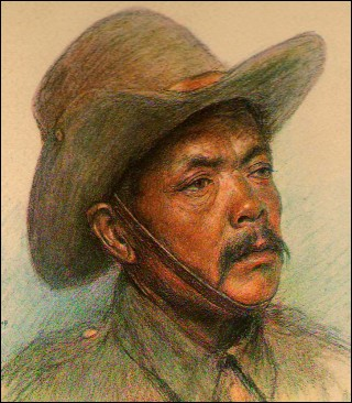 The Allied Armies Nepal Army WWI Etching Eugene Burnand 1922