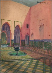 French Orientalist Watercolor Morocco Marrakesh Guiraud Riviere Art Deco 1933