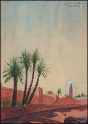 French Orientalist Minaret Marrakesh Guiraud Riviere Art Deco 1933