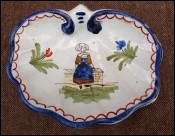 Scalloped Butter Dish Little Bretonne G Fourmaintraux Desvres 1930