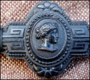 Old French Wooden Brooch Empress Eugenie 1860
