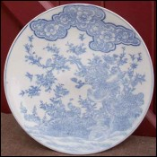 Blue White Arita Porcelain Dish Japan 19th C Meiji Period