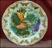 Bunch Vine Leaves French Decorative Plate Sarreguemines 1890