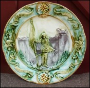 Jeanne Arc French Majolica Plate Sarreguemines 1890