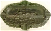 French Ship SS Normandie Ocean Liner Ashtray Tin Art Deco 30's