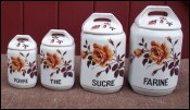 Vintage Czech Porcelain Canister Set 4pcs Art Deco 1940