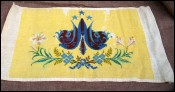Antique French Finished Needlepoint M A and flowers Panel 1910