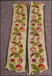 2 French Needlepoint Strips Roses Garland Tapestry 1900