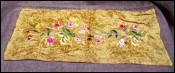 French Roses Silk Embroidered on Golden Silk Velvet 1900
