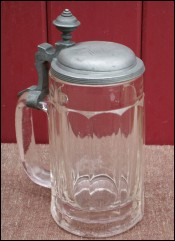 German Faceted Glass Pewter Lid Beer Stein Engraved Weigand 1880
