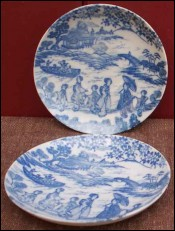 Japan Porcelain Blue and White Pair of Saucers Imari 1940
