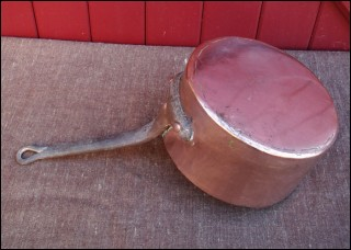 Copper Pan Tin Lined French 1850
