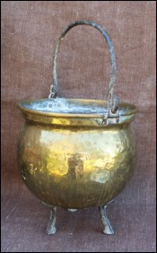 French Country Hammered Brass Caldron Wrought Iron Handle 1880
