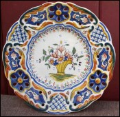 French Decoraive Cut Plate Faience Rouen
