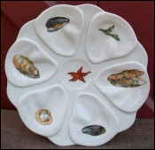 French Limoges Porcelain Oyster Plate Shellfish 1970