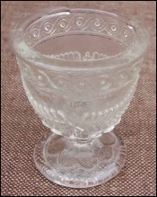 French Pressed Glass Egg Cup Shaped Open Salt Porthieux