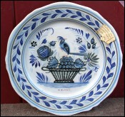 Museum Plate HB Quimper French Faience Number One