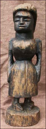 Tiki Statue Missionary Sister Hand Carved Wood Tahiti French Polynesia 1920
