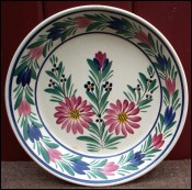 Dahlia Flowered Plate Small Bowl Dish HB Quimper 1940's